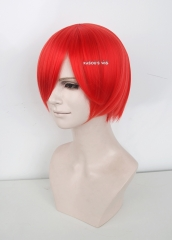 S-2 /  KA039 bright red short bob smooth cosplay wig with long bangs . Hiperlon fiber