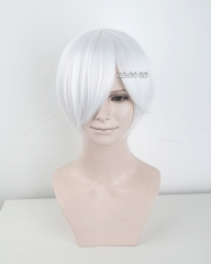 S-2 / KA001 snow white short bob smooth cosplay wig with long bangs . Hiperlon fiber