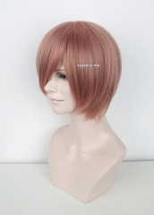 S-2 /  KA037 dusty pink short bob smooth cosplay wig with long bangs . Hiperlon fiber