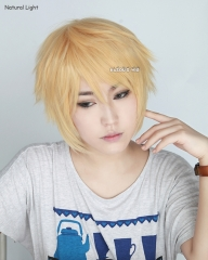 "S-1 / SP01>> 31cm / 12.2"" pastel yellow blonde short layered wig easy to style . Tangle Resistant fiber"
