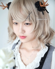 S-4 / KA015 ash blonde loose beach waves lolita . harajuku wig with bangs .35cm .