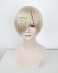 S-2 / KA006 light blonde short bob smooth cosplay wig with long bangs . Hiperlon fiber