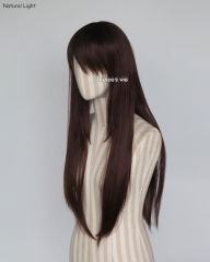 L-2 / SP07  chocolate brown  75cm long straight wig . Tangle Resistant fiber