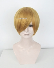 S-2 / KA013 light golden short bob smooth cosplay wig with long bangs . Hiperlon fiber