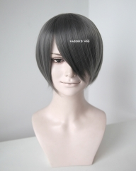 S-2 / KA005 steel gray short bob smooth cosplay wig with long bangs . Hiperlon fiber