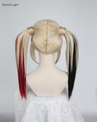 Harley Quinn light blonde cosplay wig and wrap on black red ombre pigtails . lolita hair . KA006
