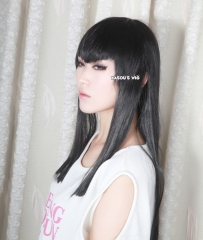 "100cm / 39.5"" Kill La Kill Satsuki Kiryuin long black straight pre-cut cosplay wig with  V shaped bangs  ( KA032 )"