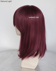 M-1/ SP18 wine red long bob cosplay wig. shouder length lolita wig suitable for daily use