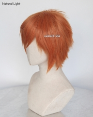 "S-1 / SP15>>31cm / 12.2""  short pumpkin orange layered wig, easy to style,Hiperlon fiber"