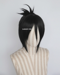 One Punch Man Speed of Sound Sonic black half updo bun cosplay wig