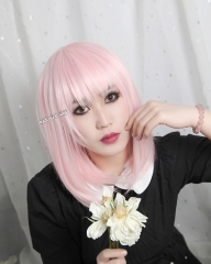 M-1/ SP34 pale pink long bob cosplay wig. shouder length lolita wig suitable for daily use
