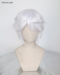 "S-1 / KA001>>31cm / 12.2"" short snow white layered wig, easy to style,Hiperlon fiber"