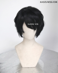 Persona 5 Protagonist short black layered naturally curly wig .KA032