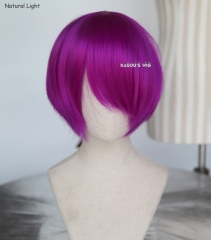 S-2 / KA053 Red Violet Purple short bob smooth cosplay wig with long bangs . Hiperlon fiber