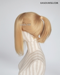 S-3 / KA012 golden blonde ponytail base wig with long bangs.