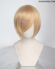 S-2 / KA012 golden blonde short bob smooth cosplay wig with long bangs . Hiperlon fiber