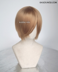 Persona 4 Satonaka Chie  S-2 / KA017 dark natural blonde short bob smooth cosplay wig with long bangs . Hiperlon fiber