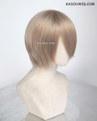 S-2 / KA015 ash blonde short bob smooth cosplay wig with long bangs . Hiperlon fiber