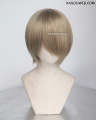 S-2 / KA016 tanned blonde short bob smooth cosplay wig with long bangs . Hiperlon fiber
