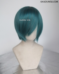 S-2 / KA064 dark green short bob smooth cosplay wig with long bangs . Hiperlon fiber