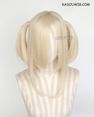 "M-2/ SP17 ┇ 50CM / 19.7"" light cream blonde pigtails base wig with long bangs."