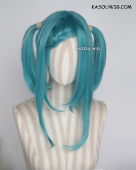 "M-2/ KA059 ┇ 50CM / 19.7"" teal blue green pigtails base wig with long bangs."