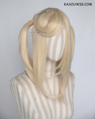 "M-2/ SP08 ┇ 50CM / 19.7"" cream blonde pigtails base wig with long bangs."