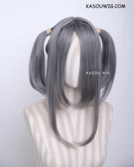 "M-2/ KA004 ┇ 50CM / 19.7"" gray  pigtails base wig with long bangs."