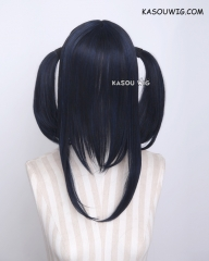 "M-2/ SP32 ┇ 50CM / 19.7""  bluish black pigtails base wig with long bangs."