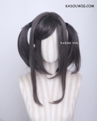 "M-2/ SP09 ┇ 50CM / 19.7"" dark gray pigtails base wig with long bangs."