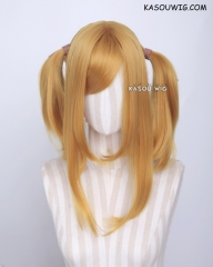 "M-2/ KA013 ┇ 50CM / 19.7"" light golden pigtails base wig with long bangs."