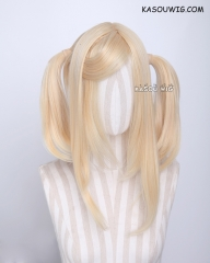 "M-2/ KA008 ┇ 50CM / 19.7"" yellow blonde  pigtails base wig with long bangs."