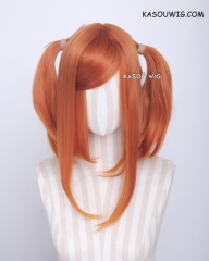 "M-2/ KA021 ┇ 50CM / 19.7"" burnt orange pigtails base wig with long bangs."