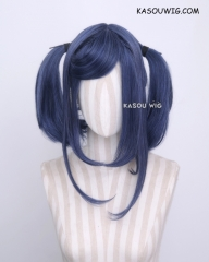 "M-2 / KA051 ┇ 50CM / 19.7""  navy blue pigtails base wig with long bangs."