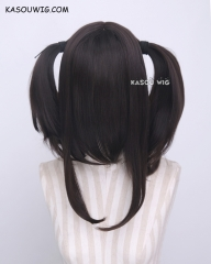 "M-2/ KA031 ┇ 50CM / 19.7""  Natural Black  pigtails base wig with long bangs."