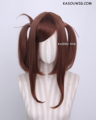 "M-2/ KA026 ┇ 50CM / 19.7"" Walnut Brown  pigtails base wig with long bangs."