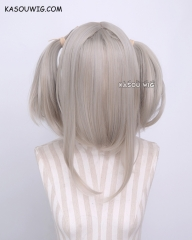 "M-2/ KA007 ┇ 50CM / 19.7"" beige pigtails base wig with long bangs."
