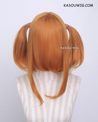 "M-2/ KA019 ┇ 50CM / 19.7"" carrot orange  pigtails base wig with long bangs."