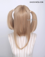 "M-2/ KA017 50CM / 19.7"" dark natural blonde pigtails base wig with long bangs."