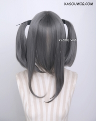 "M-2/ KA005 ┇ 50CM / 19.7"" steel gray  pigtails base wig with long bangs."