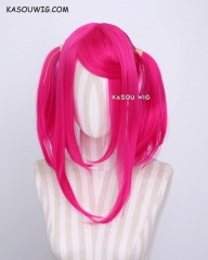 "M-2 / KA038 ┇ 50CM / 19.7"" Raspberry rose  pigtails base wig with long bangs."