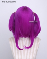 "M-2 / KA053 ┇ 50CM / 19.7""  Red Violet Purple  pigtails base wig with long bangs."