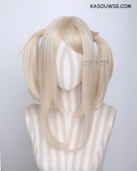 "M-2/ KA006 ┇ 50CM / 19.7"" light blonde pigtails base wig with long bangs."
