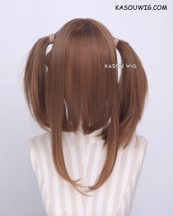 "M-2/ KA024 ┇ 50CM / 19.7"" light brown pigtails base wig with long bangs."