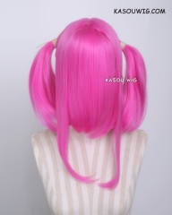 "M-2 / KA035 ┇ 50CM / 19.7""  deep pink pigtails base wig with long bangs."
