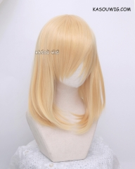 M-1/SP01 pastel yellow blonde long bob cosplay wig. shouder length lolita wig suitable for daily use