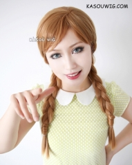 Frozen Queen Anna honey brown long braids cosplay wig with highlighted blonde hair