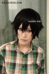 Togainu no Chi Shiki short black layered cosplay wig with bangs . daily hair  ( KA032 )