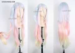 "100cm / 39.5"" No Game No Life Shiro long cosplay wig with clip . pastel blue .peach pink . yellow. turquoise  blended ombre  hair . Lolita hair"