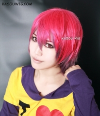 No Game No Life Sora pink purple ombre short layers cosplay wig . Multicolor wig